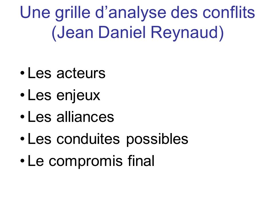 Une grille d'analyse des conflits (Jean Daniel Reynaud)