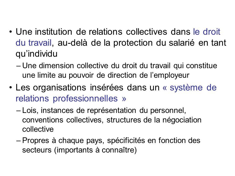 Une institution de relations collectives dans le droit du travail, au-delà de la protection du salarié en tant qu'individu