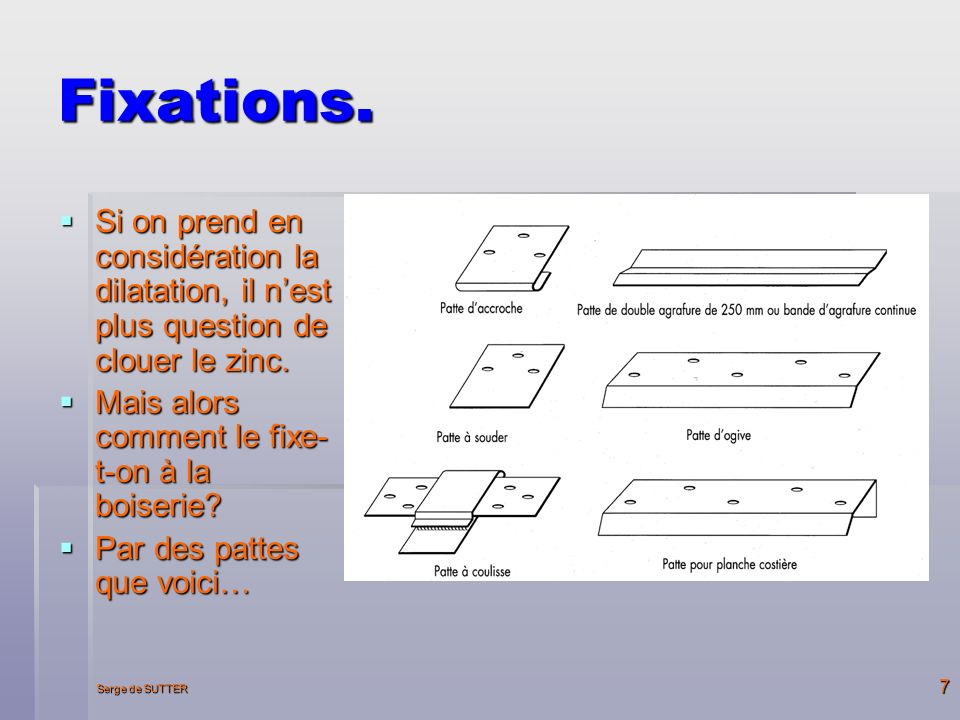 Fixations. Si on prend en considération la dilatation, il n'est plus question de clouer le zinc. Mais alors comment le fixe-t-on à la boiserie