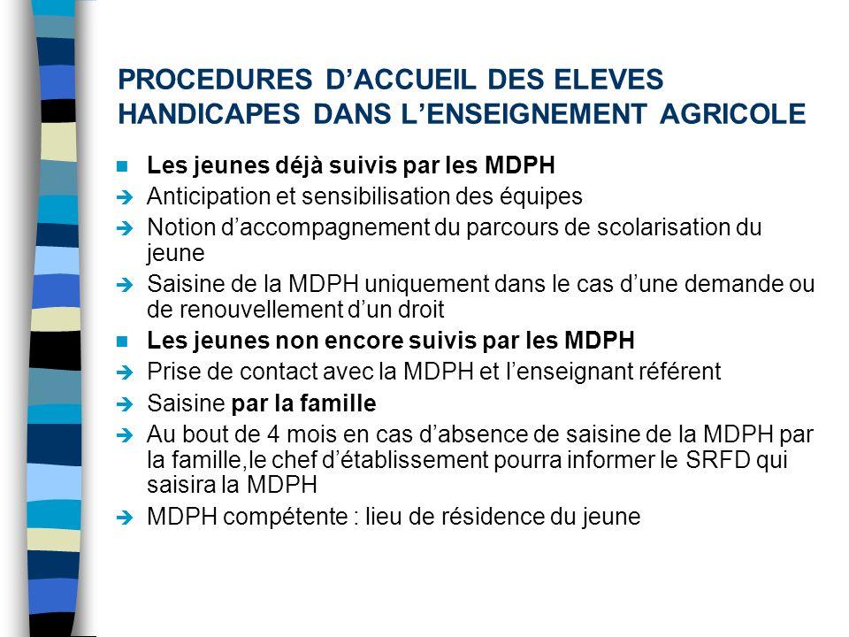 PROCEDURES D'ACCUEIL DES ELEVES HANDICAPES DANS L'ENSEIGNEMENT AGRICOLE