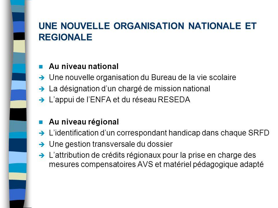 UNE NOUVELLE ORGANISATION NATIONALE ET REGIONALE