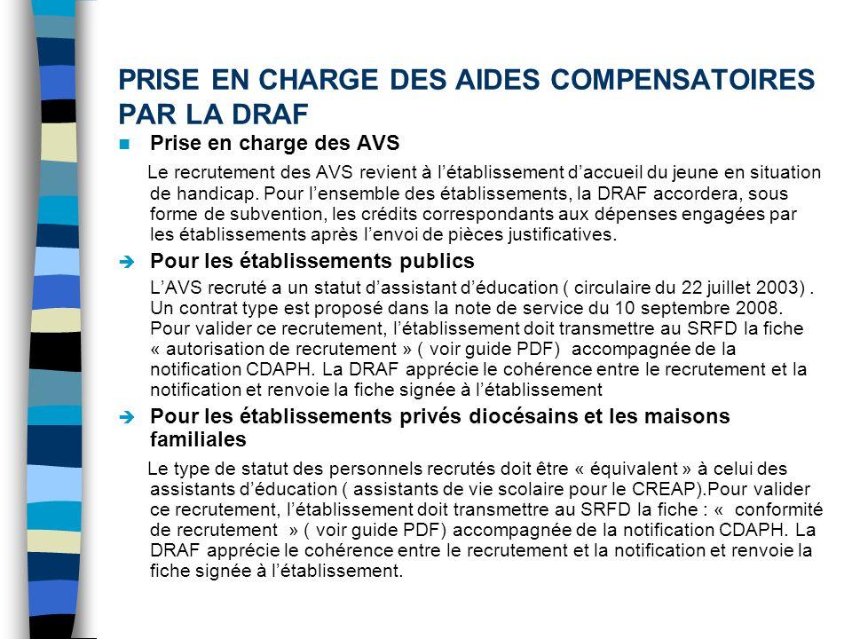 PRISE EN CHARGE DES AIDES COMPENSATOIRES PAR LA DRAF