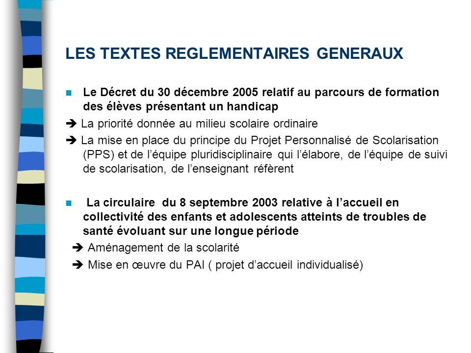 LES TEXTES REGLEMENTAIRES GENERAUX