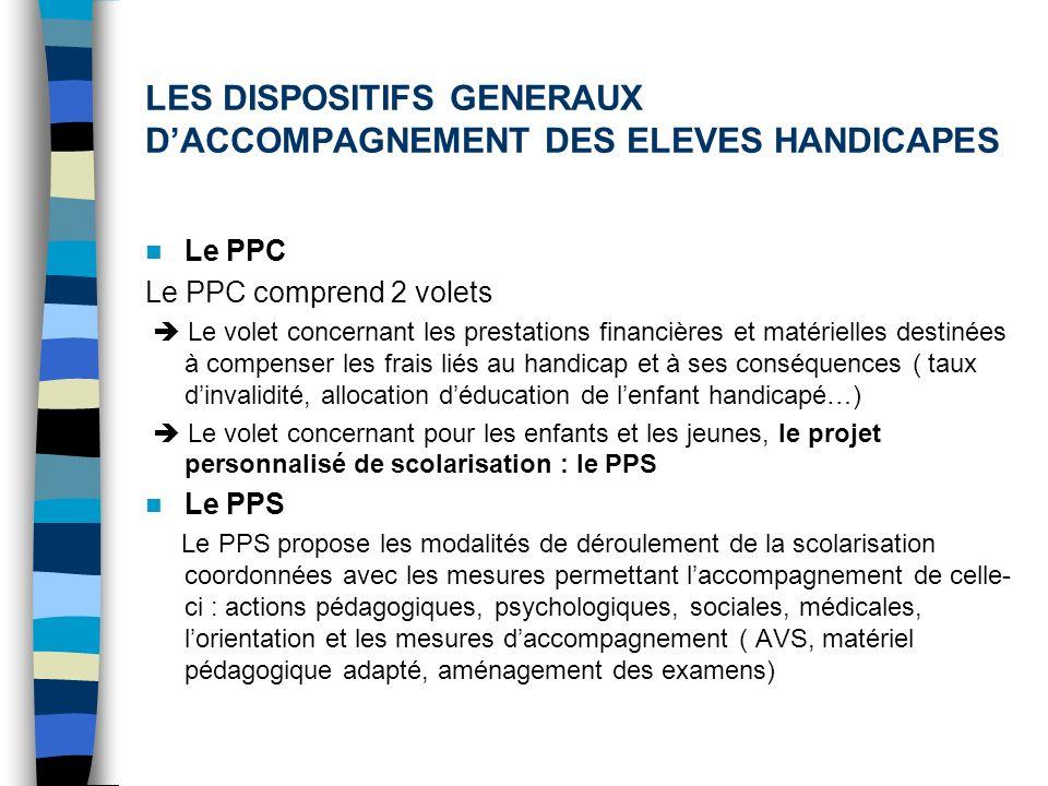 LES DISPOSITIFS GENERAUX D'ACCOMPAGNEMENT DES ELEVES HANDICAPES