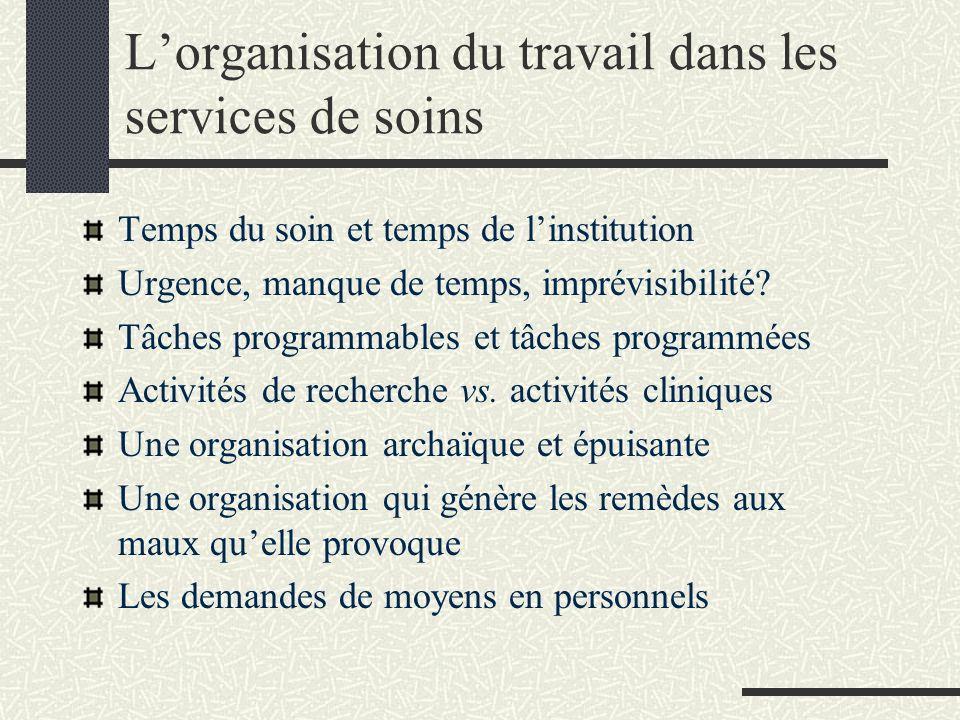 L'organisation du travail dans les services de soins