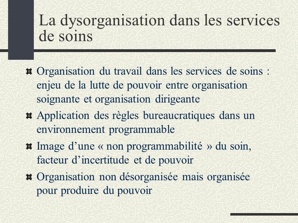 La dysorganisation dans les services de soins