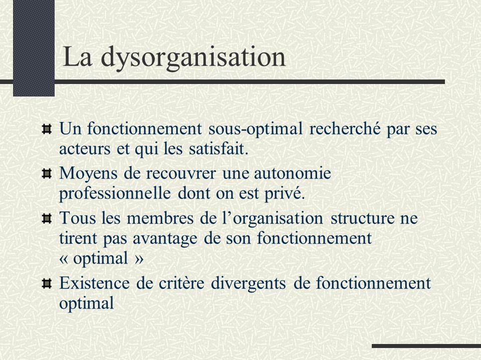 La dysorganisation Un fonctionnement sous-optimal recherché par ses acteurs et qui les satisfait.