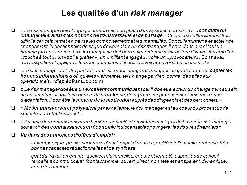 Les qualités d'un risk manager