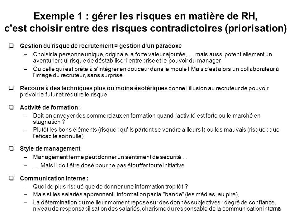 Exemple 1 : gérer les risques en matière de RH, c est choisir entre des risques contradictoires (priorisation)