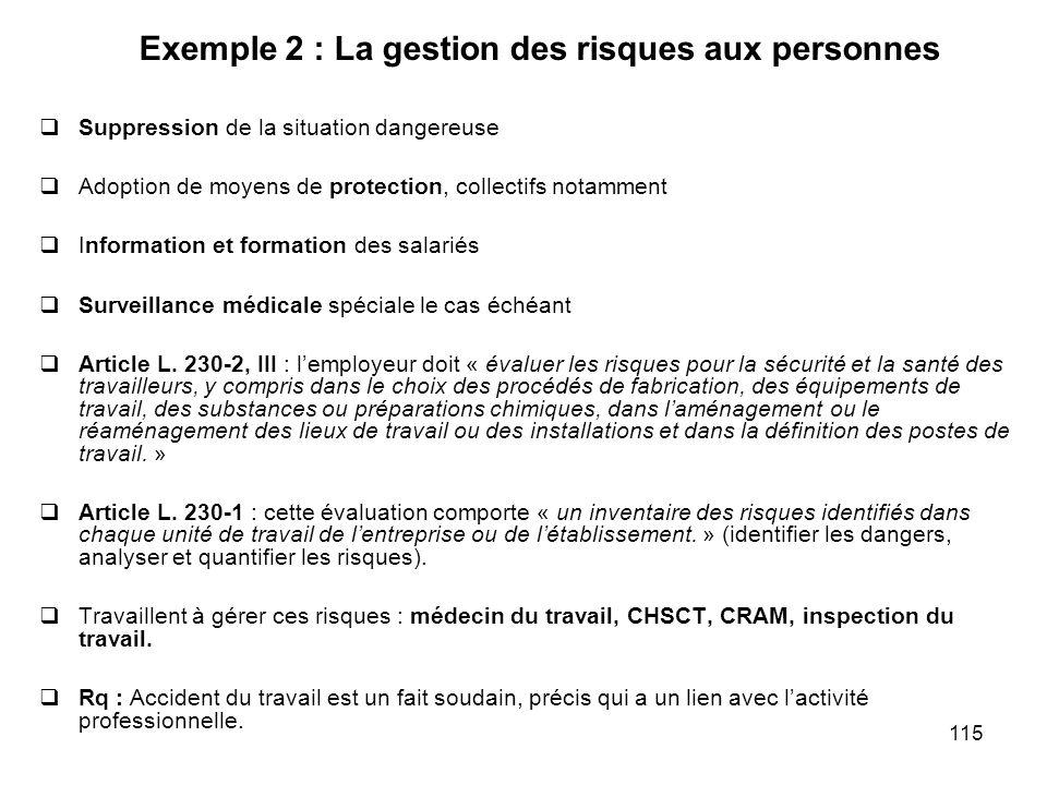 Exemple 2 : La gestion des risques aux personnes