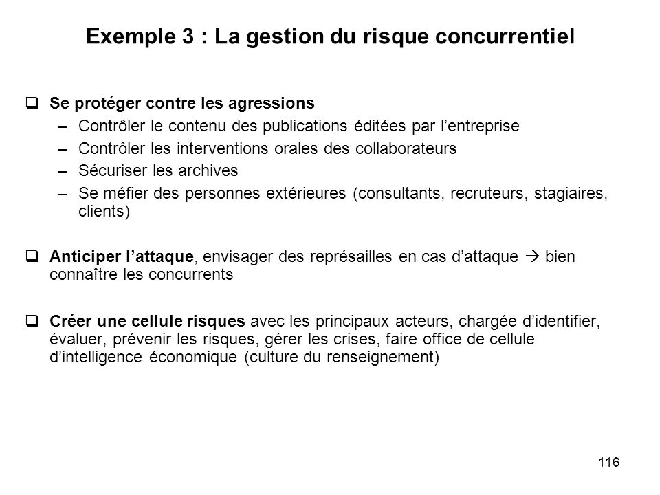 Exemple 3 : La gestion du risque concurrentiel
