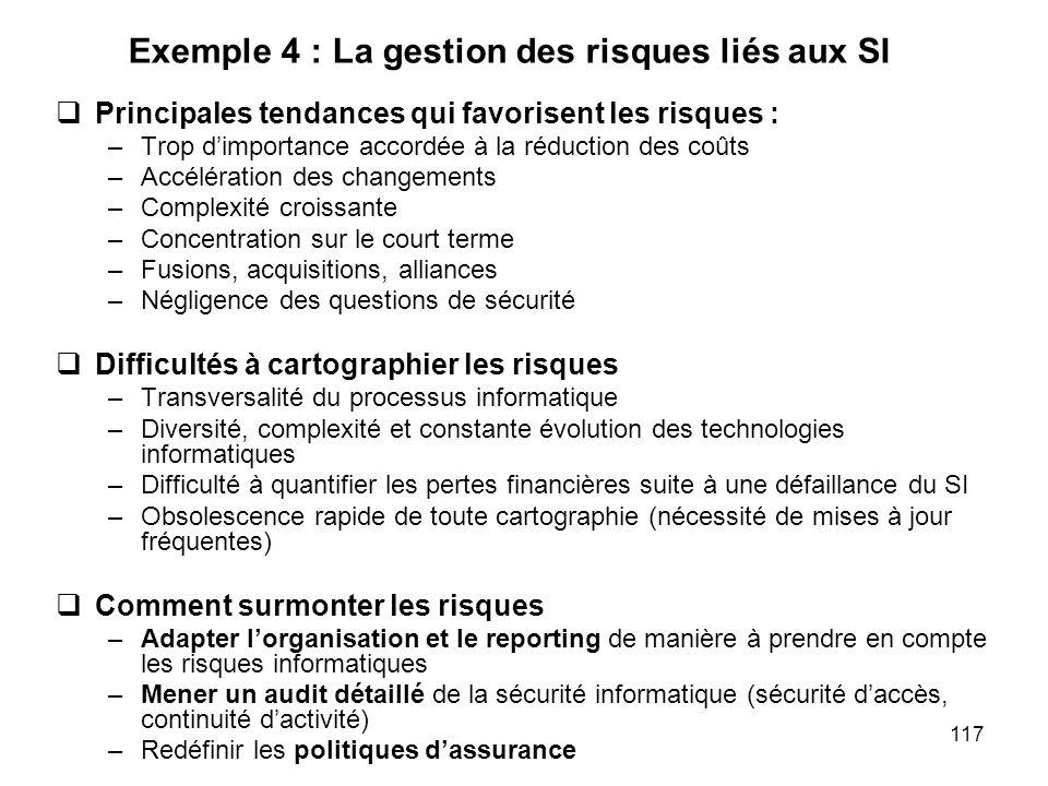 Exemple 4 : La gestion des risques liés aux SI