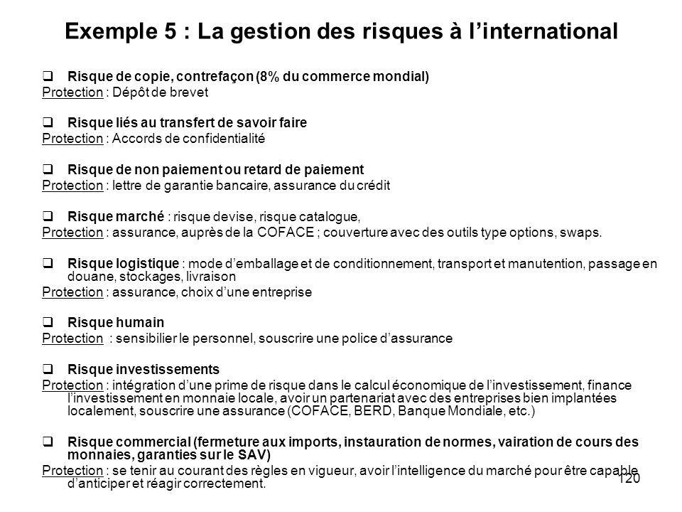 Exemple 5 : La gestion des risques à l'international