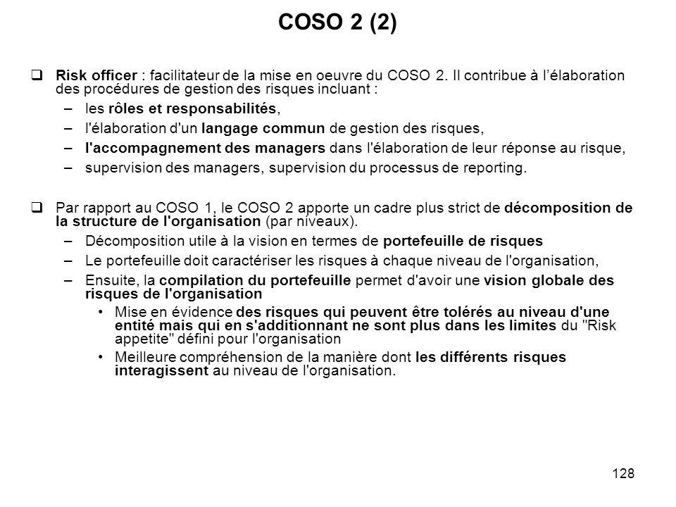 COSO 2 (2) Risk officer : facilitateur de la mise en oeuvre du COSO 2. Il contribue à l'élaboration des procédures de gestion des risques incluant :