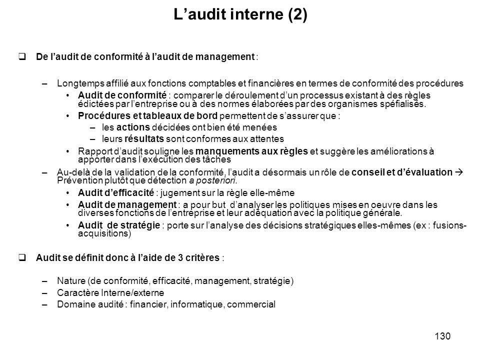 L'audit interne (2) De l'audit de conformité à l'audit de management :
