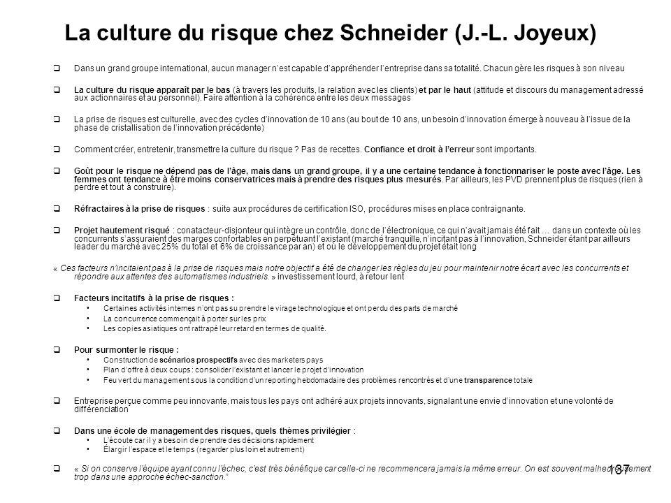 La culture du risque chez Schneider (J.-L. Joyeux)