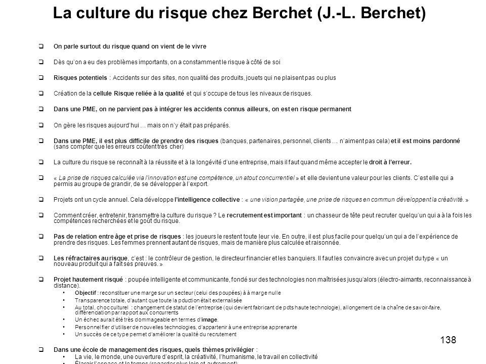 La culture du risque chez Berchet (J.-L. Berchet)