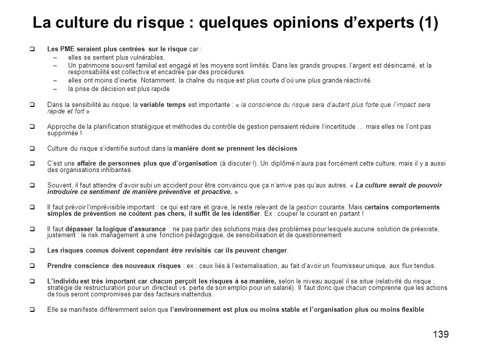 La culture du risque : quelques opinions d'experts (1)