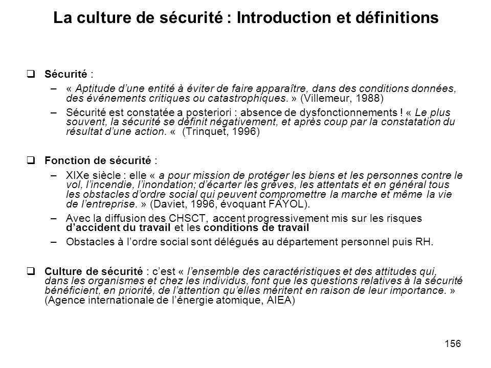 La culture de sécurité : Introduction et définitions