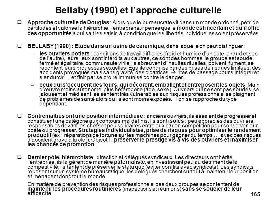Bellaby (1990) et l'approche culturelle