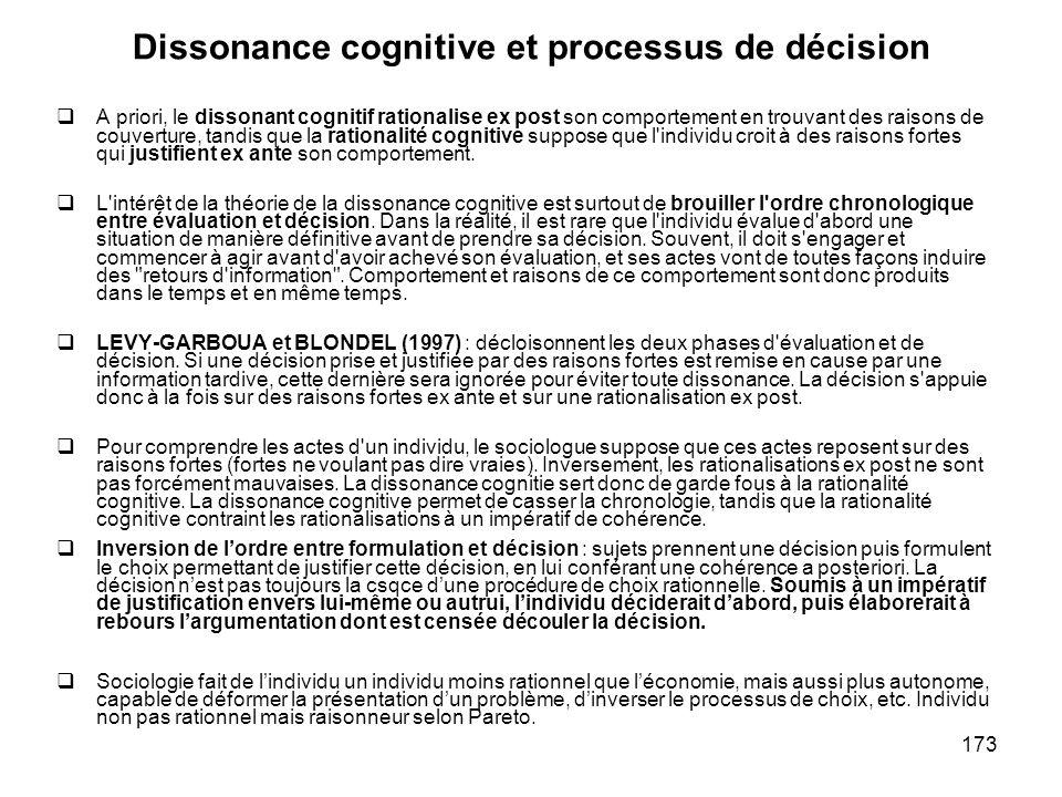 Dissonance cognitive et processus de décision