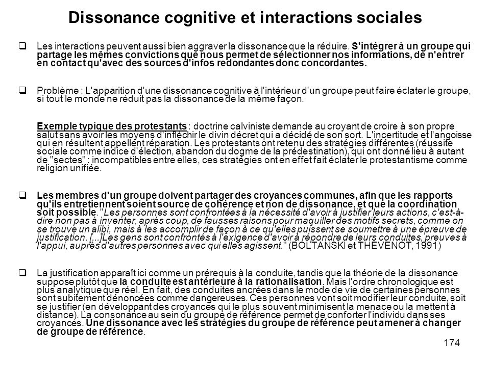 Dissonance cognitive et interactions sociales