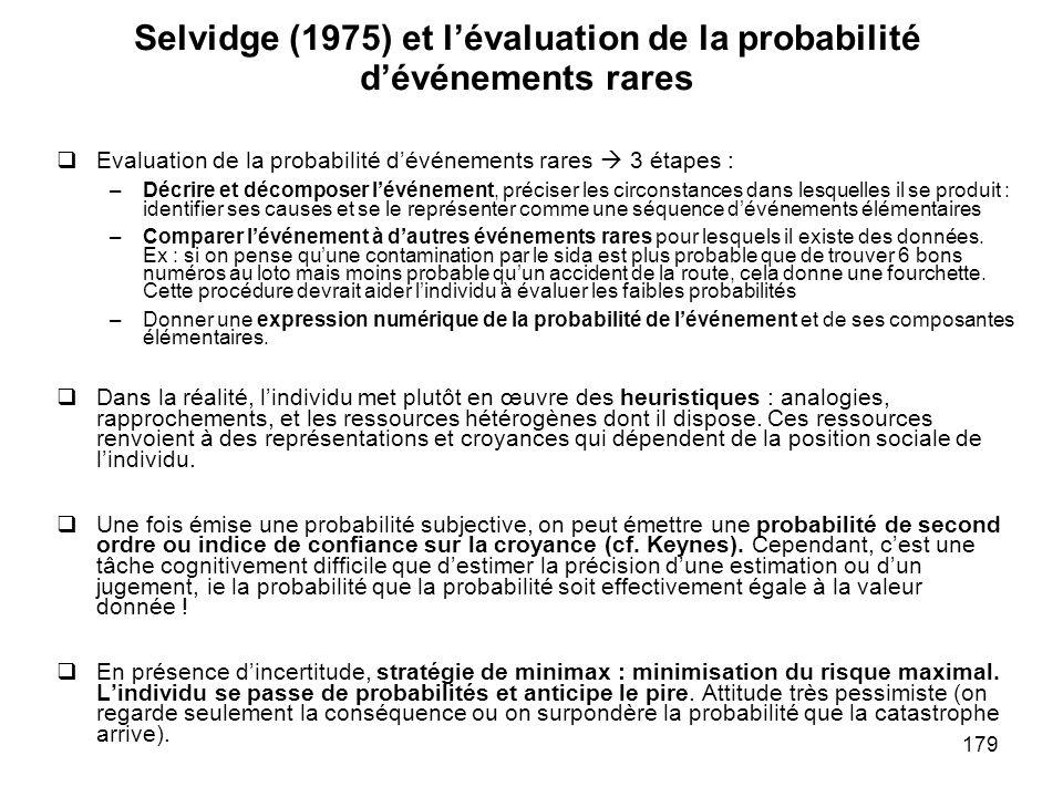 Selvidge (1975) et l'évaluation de la probabilité d'événements rares
