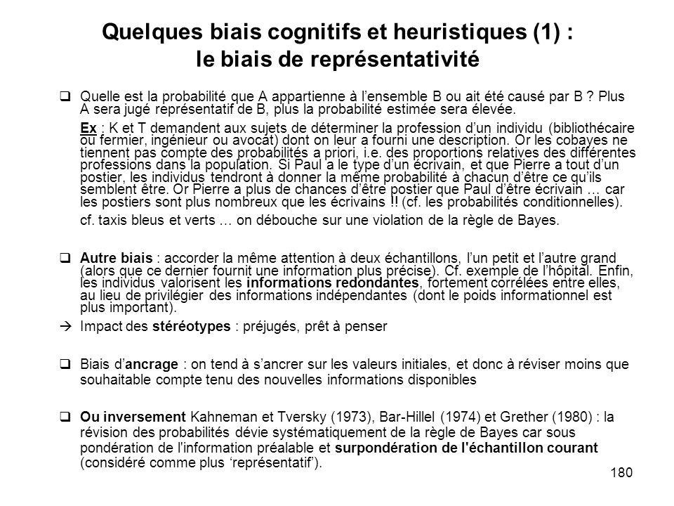 Quelques biais cognitifs et heuristiques (1) : le biais de représentativité