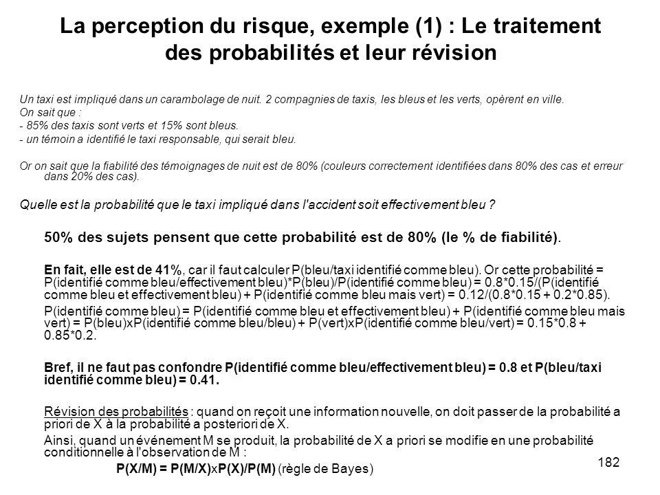 La perception du risque, exemple (1) : Le traitement des probabilités et leur révision