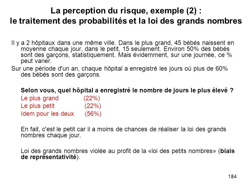 La perception du risque, exemple (2) : le traitement des probabilités et la loi des grands nombres
