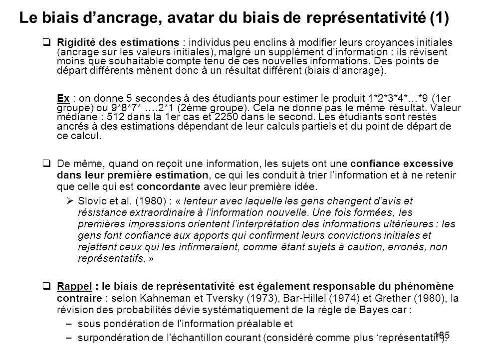 Le biais d'ancrage, avatar du biais de représentativité (1)