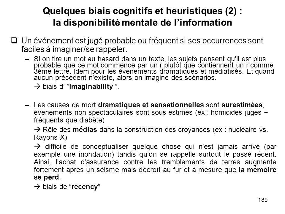 Quelques biais cognitifs et heuristiques (2) : la disponibilité mentale de l'information