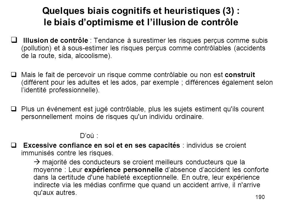 Quelques biais cognitifs et heuristiques (3) : le biais d'optimisme et l'illusion de contrôle