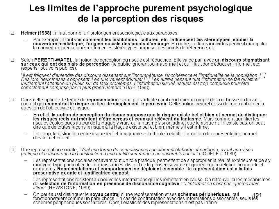Les limites de l'approche purement psychologique de la perception des risques