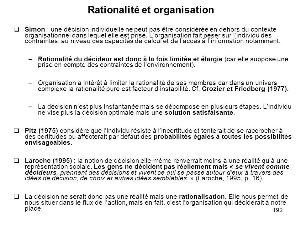 Rationalité et organisation