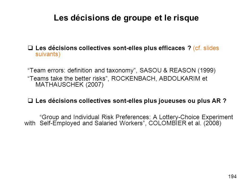 Les décisions de groupe et le risque