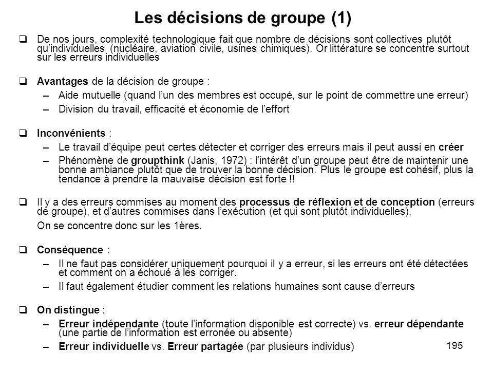 Les décisions de groupe (1)