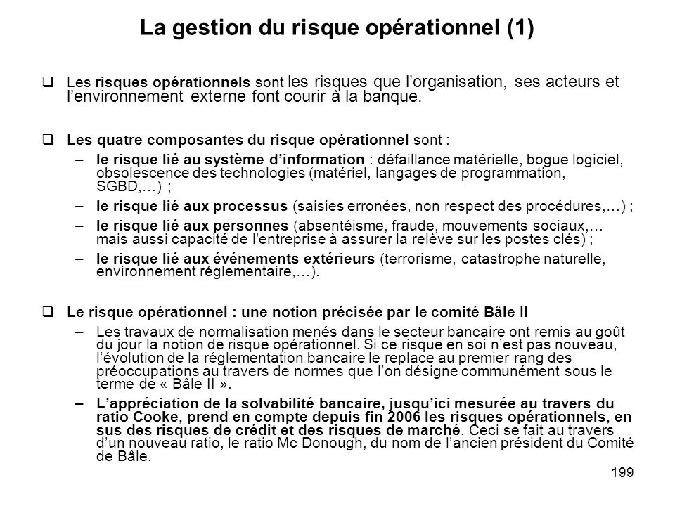 La gestion du risque opérationnel (1)