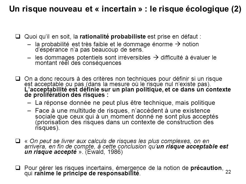 Un risque nouveau et « incertain » : le risque écologique (2)