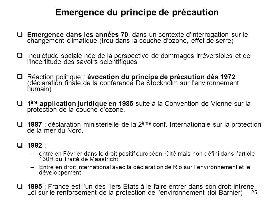 Emergence du principe de précaution