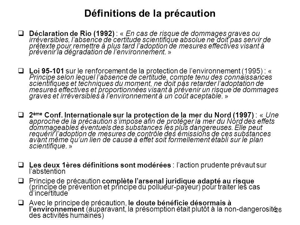 Définitions de la précaution
