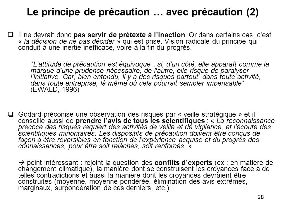 Le principe de précaution … avec précaution (2)