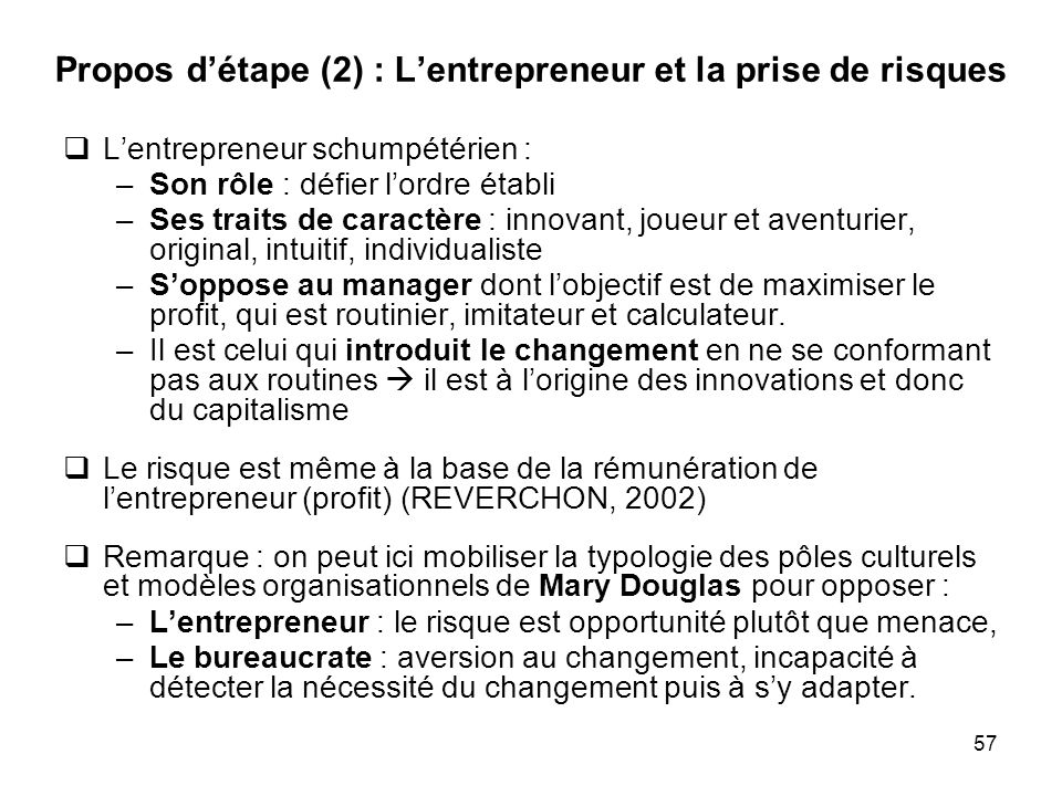 Propos d'étape (2) : L'entrepreneur et la prise de risques