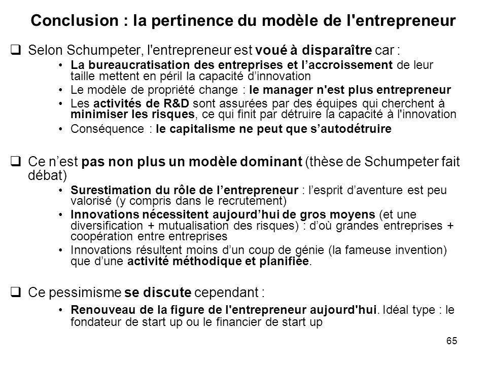 Conclusion : la pertinence du modèle de l entrepreneur