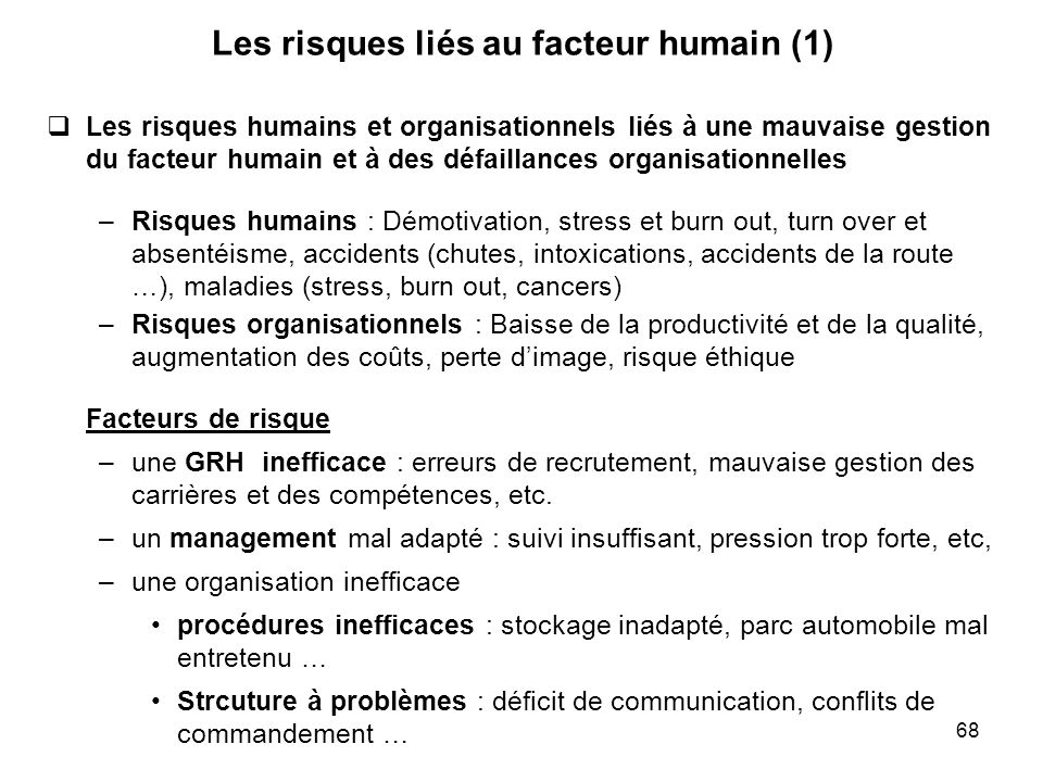 Les risques liés au facteur humain (1)