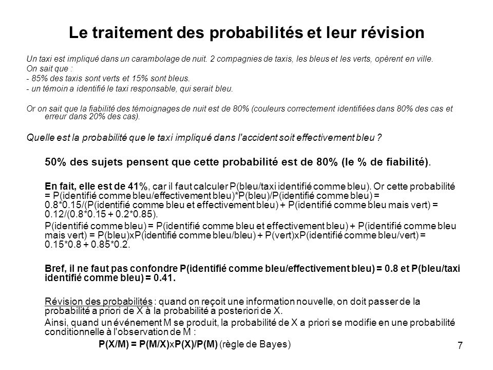 Le traitement des probabilités et leur révision
