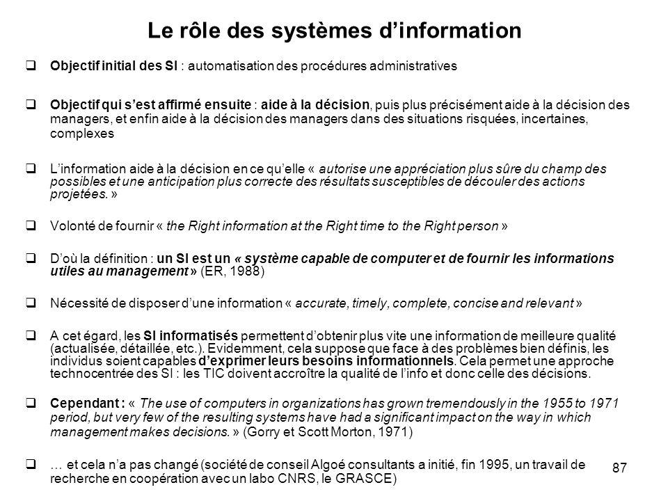 Le rôle des systèmes d'information