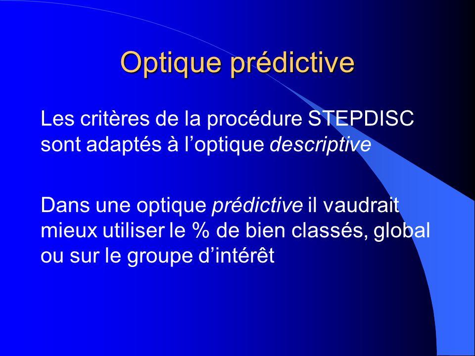 Optique prédictive Les critères de la procédure STEPDISC sont adaptés à l'optique descriptive.