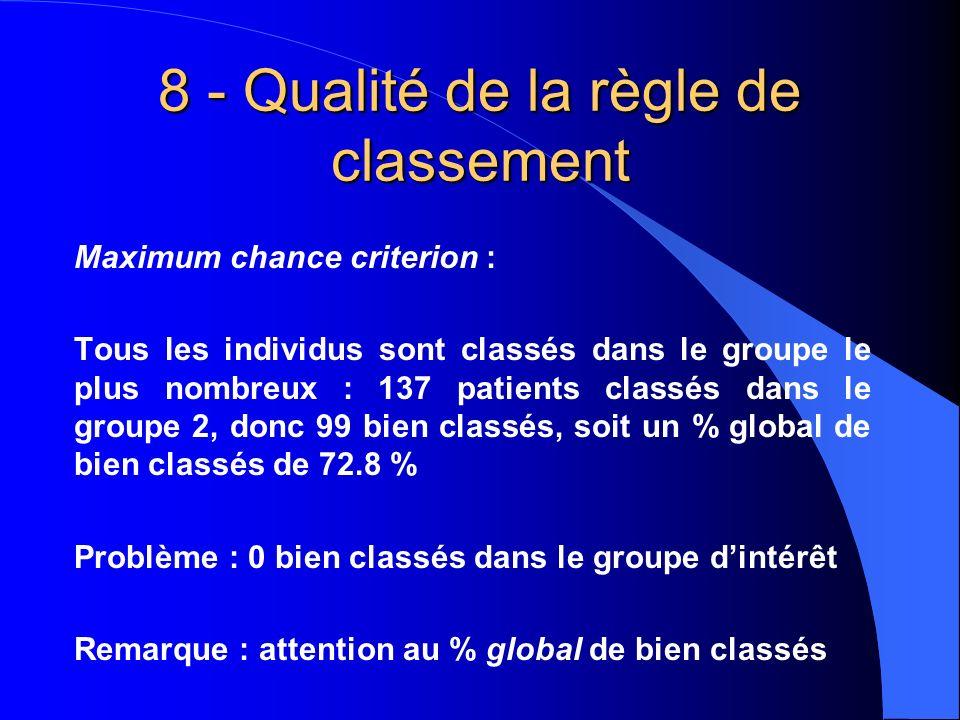 8 - Qualité de la règle de classement