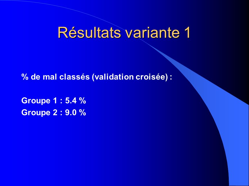 Résultats variante 1 % de mal classés (validation croisée) :